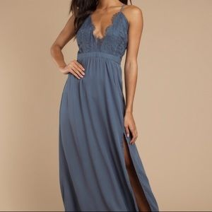 Blue Maxi Dress With Lace